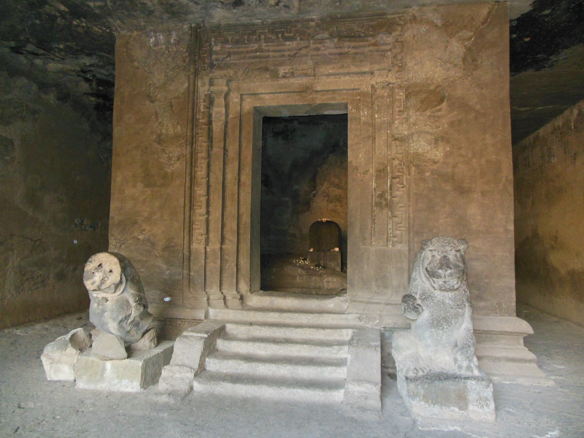 A temple in the Elephanta Caves